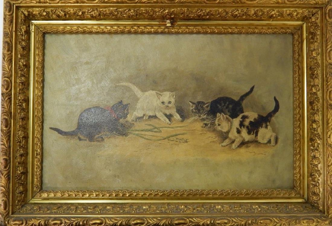 1894 DELIA ATWOOD CATS OIL PAINTING ON BOARD