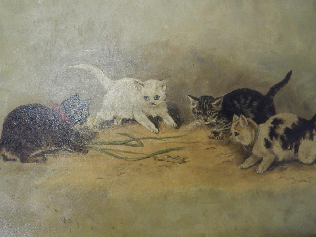 1894 DELIA ATWOOD CATS OIL PAINTING ON BOARD - 2