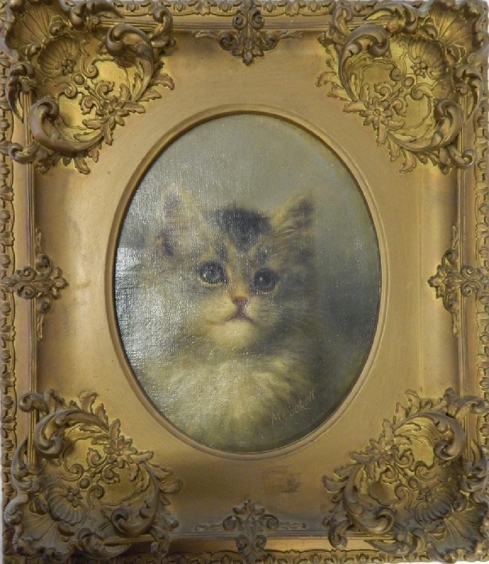 19th C OIL PAINTING OF CAT SIGNED M COCKETT