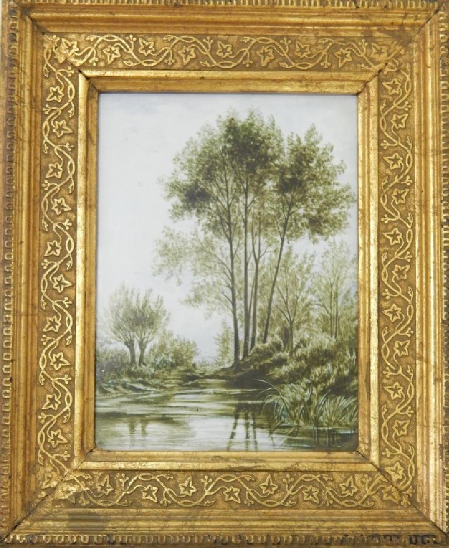 1890 FRENCH LANDSCAPE PORTRAIT PLAQUE SIGNED