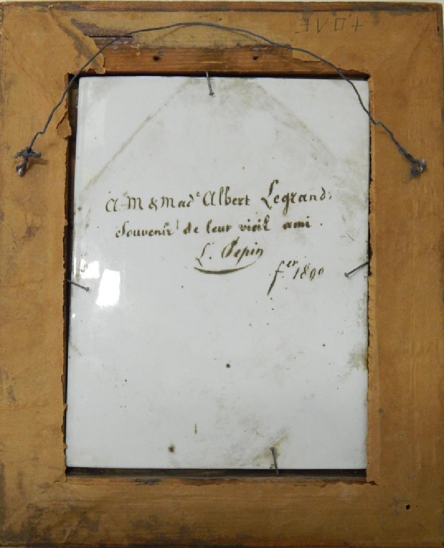 1890 FRENCH LANDSCAPE PORTRAIT PLAQUE SIGNED - 2