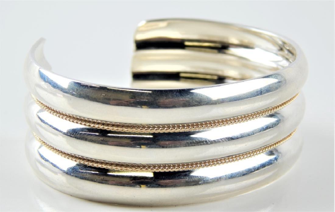 TIFFANY & CO STERLING W/14K TRIPLE RIBBED CUFF