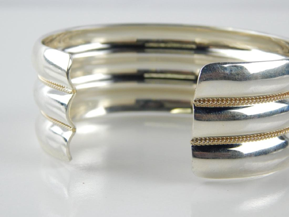 TIFFANY & CO STERLING W/14K TRIPLE RIBBED CUFF - 2