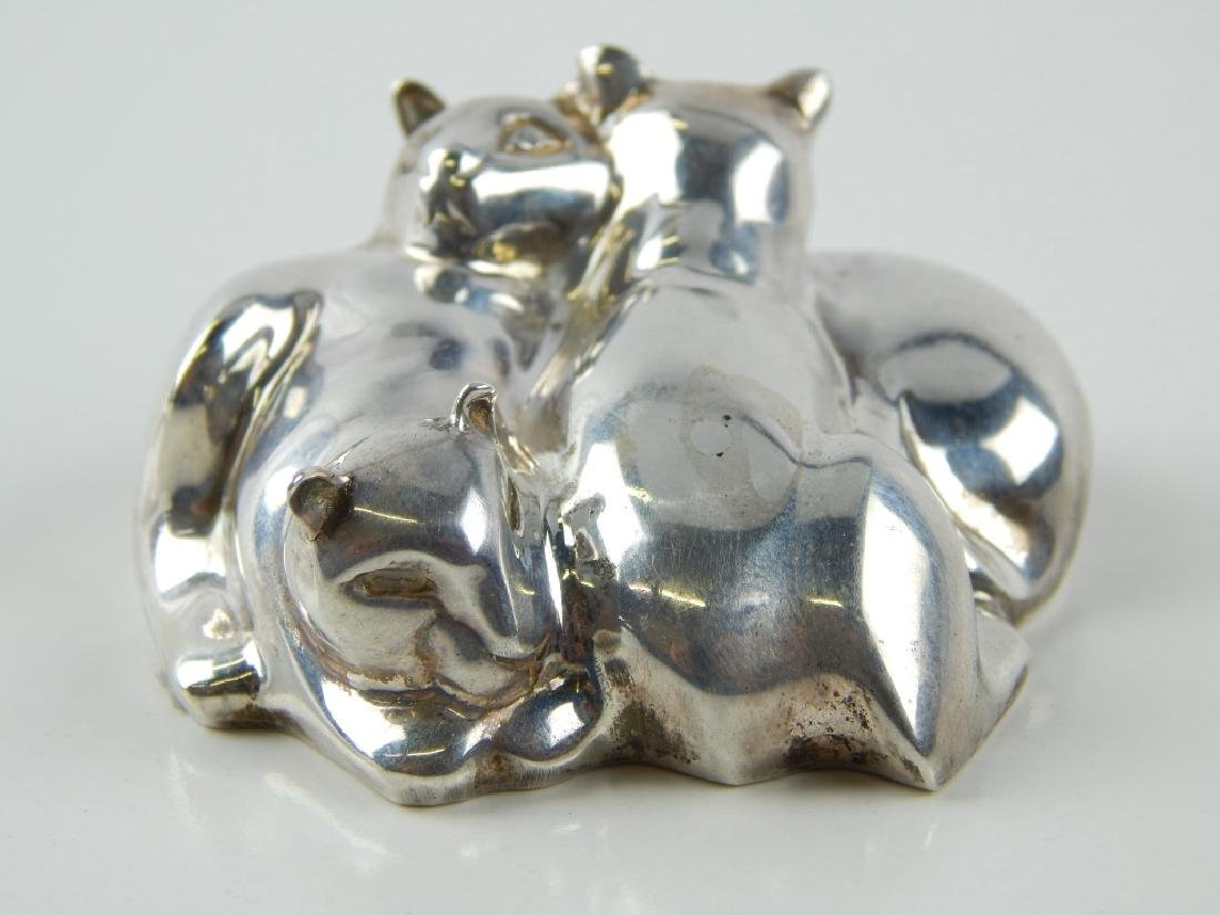 TIFFANY & CO STERLING SILVER CAT GROUP PAPERWEIGHT - 2