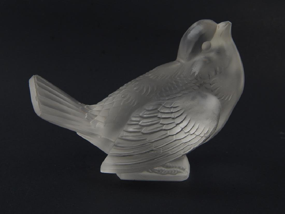 Pr R LALIQUE FRANCE FROSTED CRYSTAL SPARROW BIRDS - 2