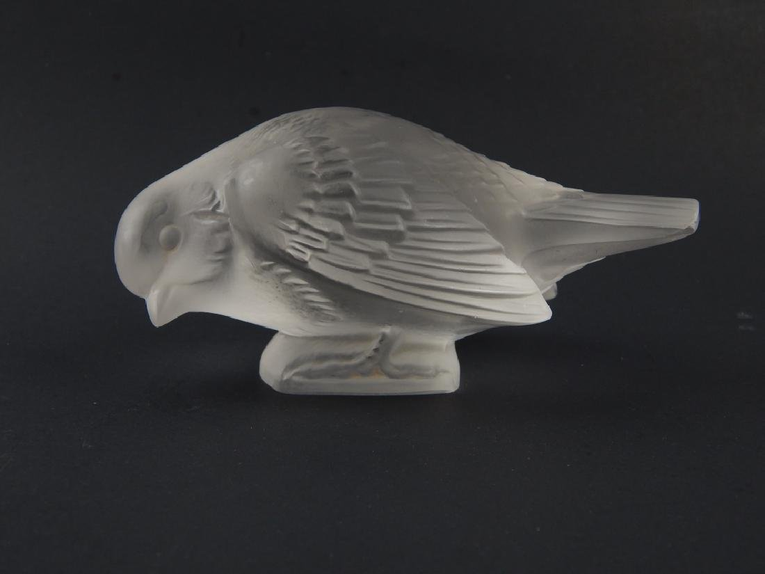 Pr R LALIQUE FRANCE FROSTED CRYSTAL SPARROW BIRDS - 3