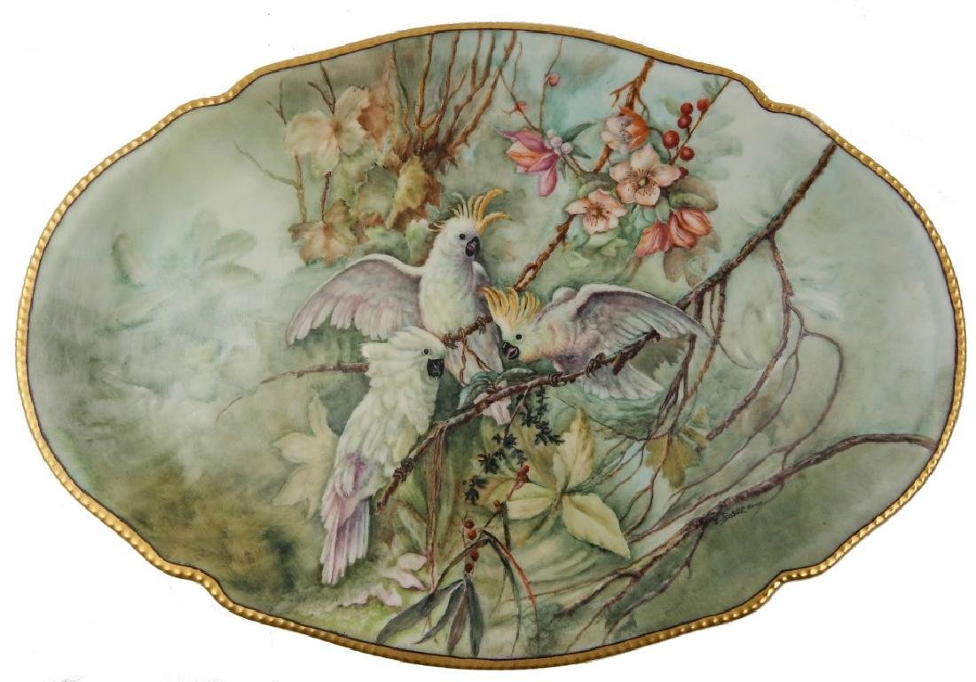 ANTIQUE E BOSSE BHAND PAINTED PORCELAIN PLATTER