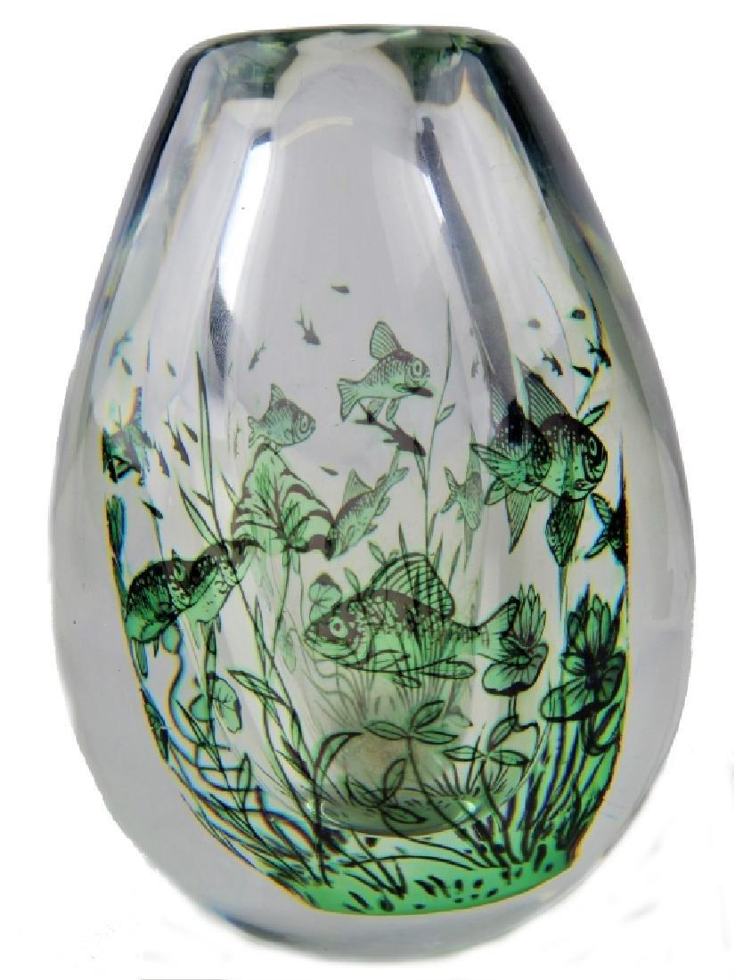 ORREFORS FISH GRAAL EDWARD HALD HEAVY VASE 1823B