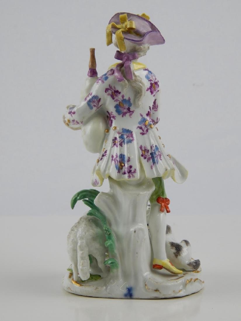 ANTIQUE MEISSEN PORCELAIN BAGPIPE PLAYER FIGURE - 3