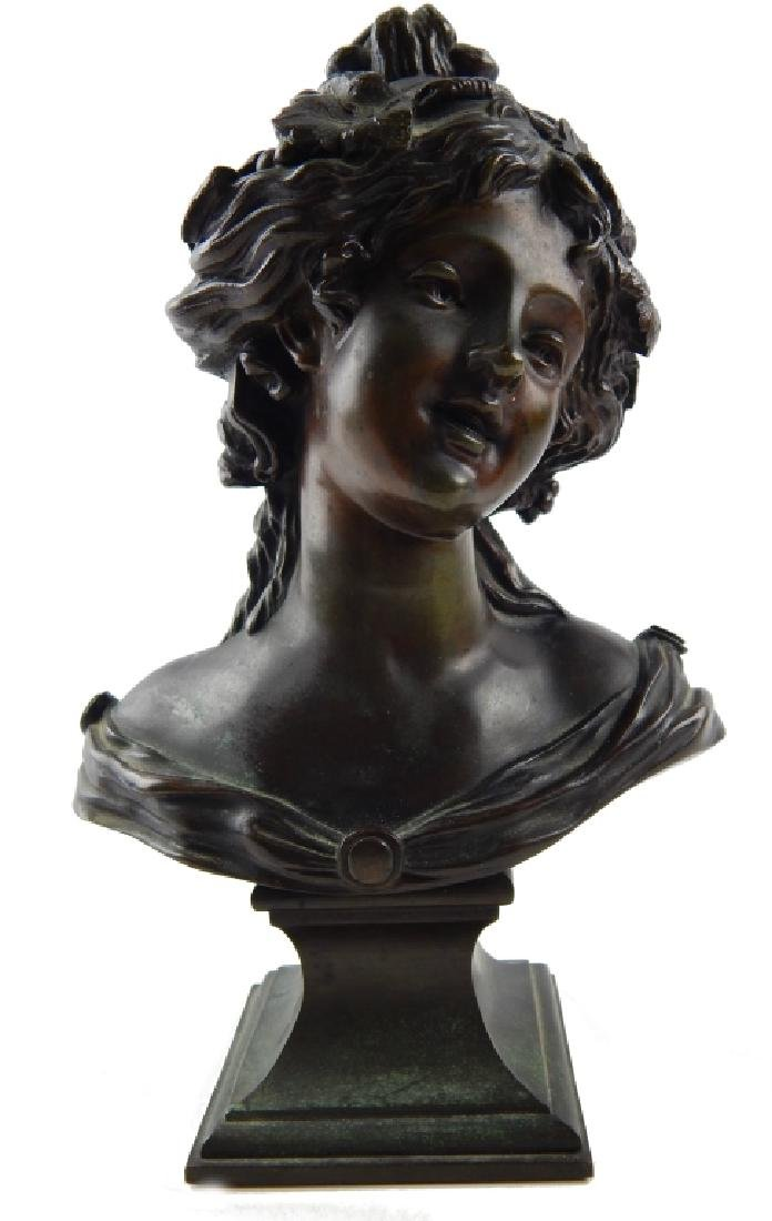 BRONZE BUST SCULPTURE ON PLINTH OF YOUNG BEAUTY