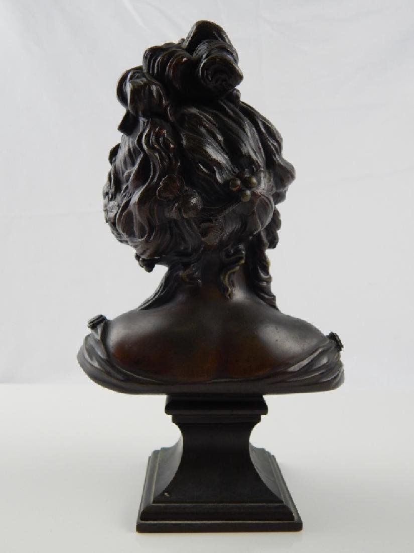 BRONZE BUST SCULPTURE ON PLINTH OF YOUNG BEAUTY - 2