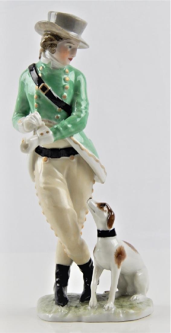 AUGARTEN VIENNA PORCELAIN FIGURE OF MAN WITH DOG