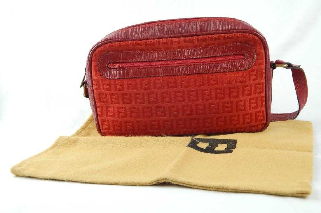 a811116f04 VINTAGE RED FENDI MONOGRAM SHOULDER BAG PURSE
