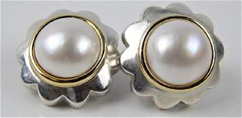 TIFFANY & CO 18K & 925 MABE PEARL FLORAL EARRINGS