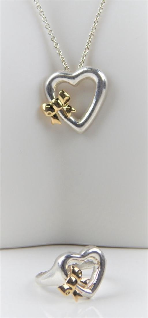 TIFFANY & CO OPEN HEART STERLING NECKLACE EARRINGS