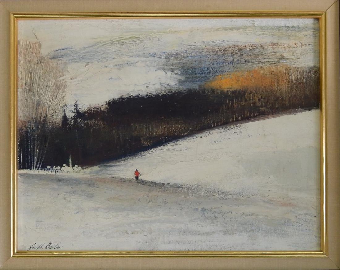 JOSEPH BARBER OIL ON BOARD OF SNOWY LANDSCAPE
