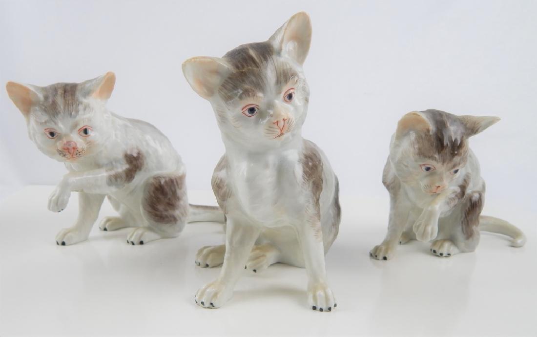 3 DRESDEN GERMAN PORCELAIN CAT FIGURES