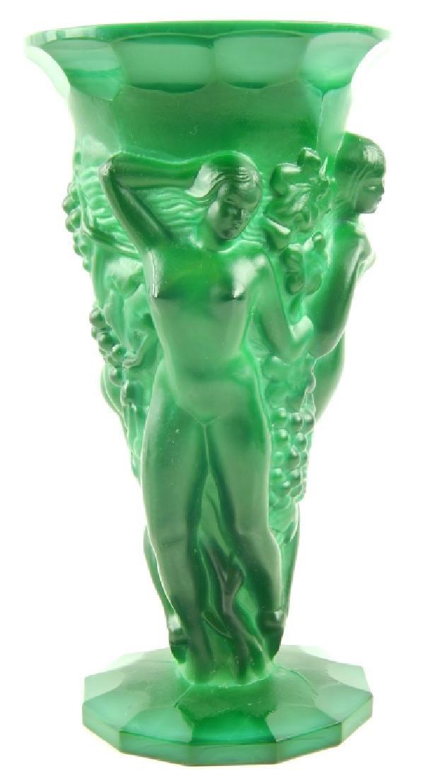 BOHEMIAN DECO GRAPE HARVEST MALACHITE GLASS VASE - 2
