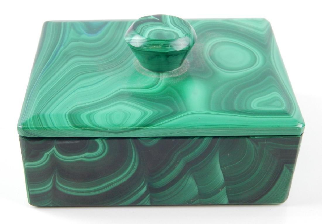 VINTAGE BOHEMIAN MALACHITE GLASS COVERED BOX