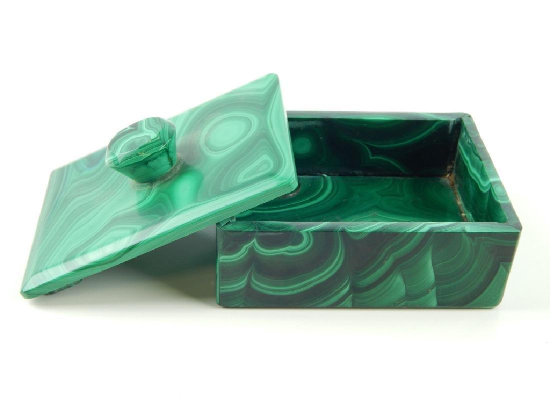VINTAGE BOHEMIAN MALACHITE GLASS COVERED BOX - 2