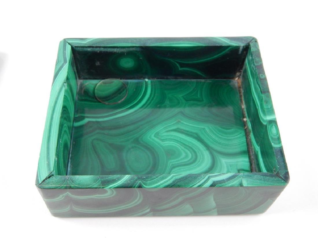 VINTAGE BOHEMIAN MALACHITE GLASS COVERED BOX - 3
