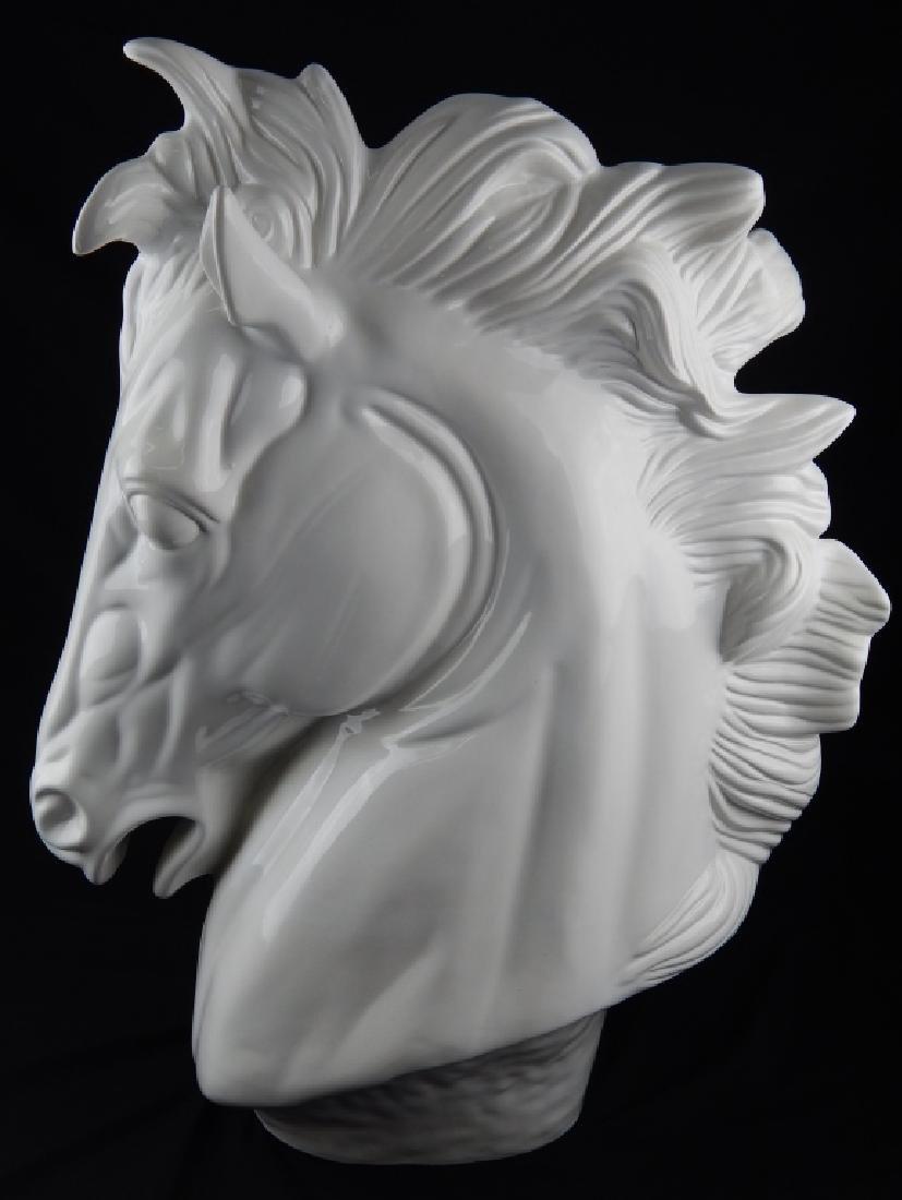 LARGE CUERNAVACA BLANC DE CHINE HORSE BUST