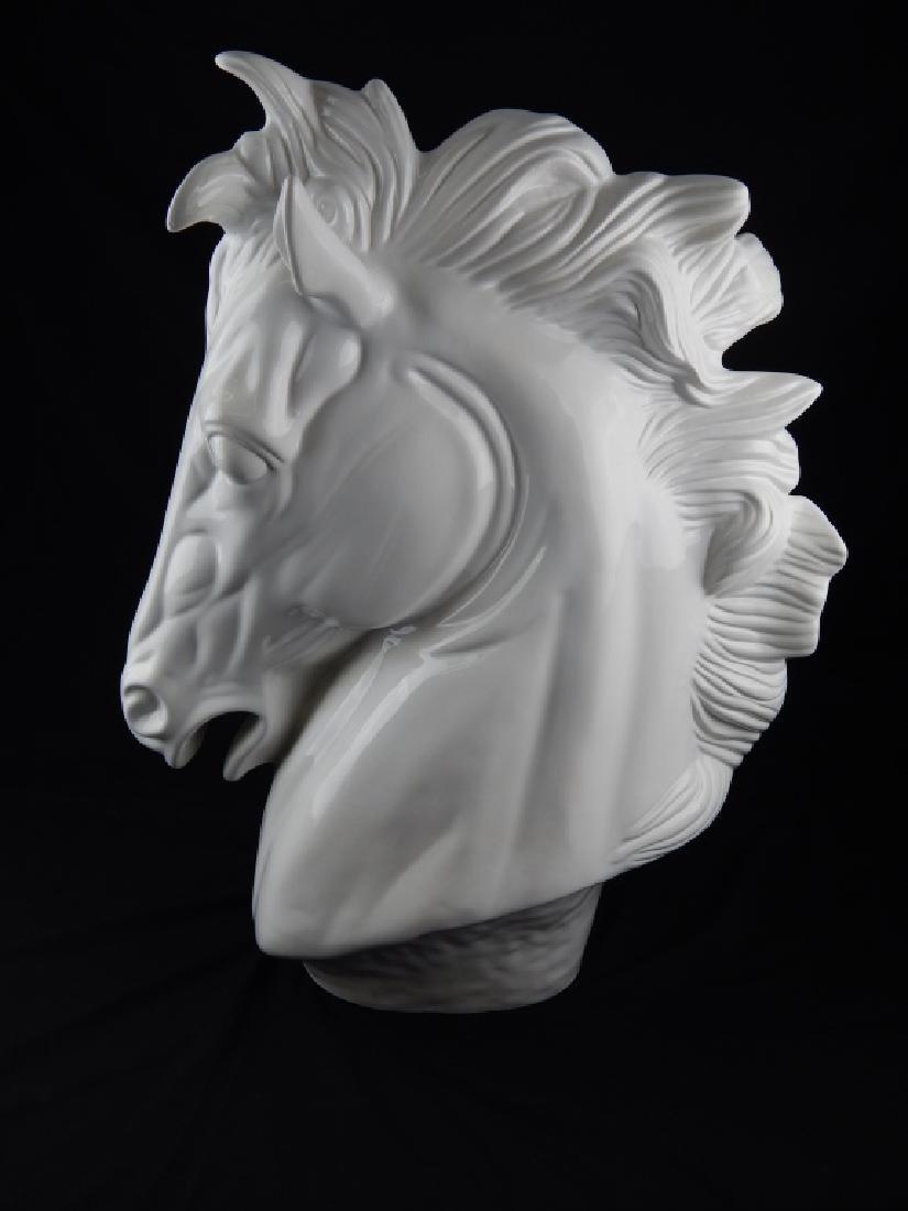 LARGE CUERNAVACA BLANC DE CHINE HORSE BUST - 2