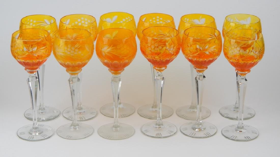 SET OF 12 BOHEMIAN AMBER GLASS STEMWARE GLASSES