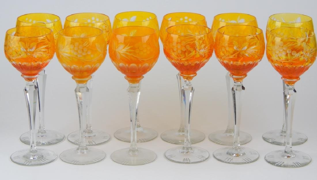 SET OF 12 BOHEMIAN AMBER GLASS STEMWARE GLASSES - 2
