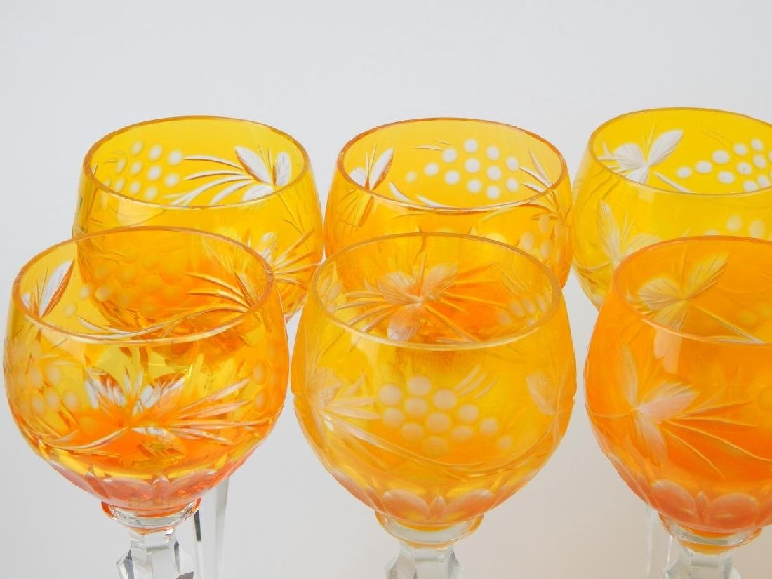 SET OF 12 BOHEMIAN AMBER GLASS STEMWARE GLASSES - 3