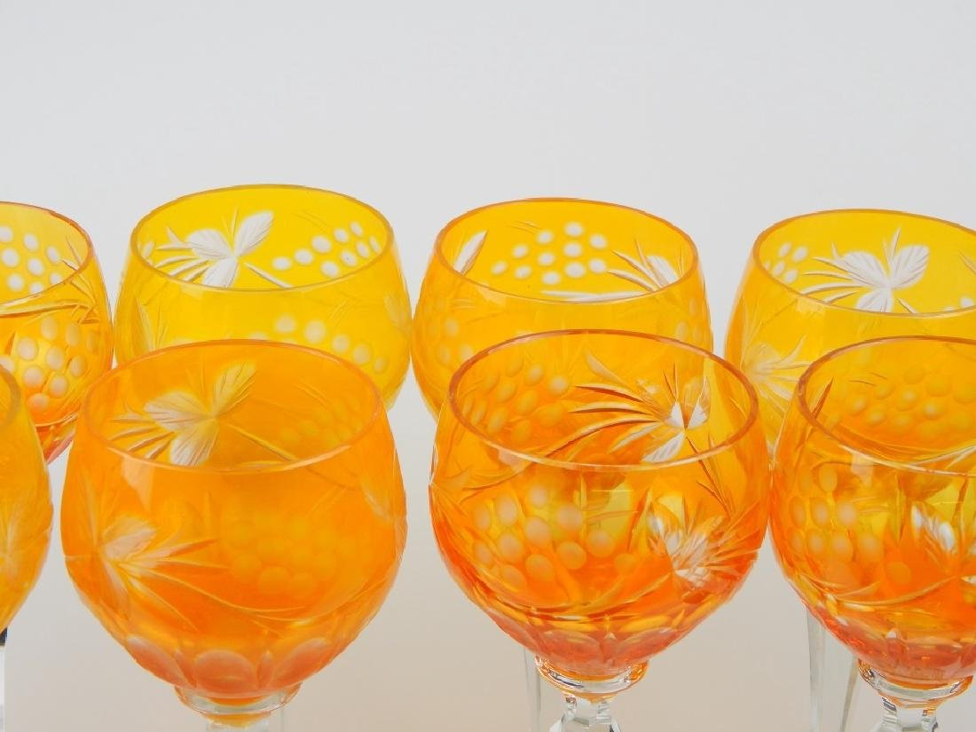 SET OF 12 BOHEMIAN AMBER GLASS STEMWARE GLASSES - 4