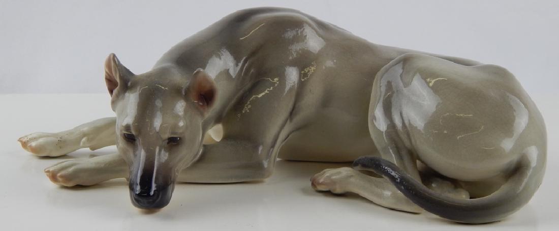 JH FOR NYMPHENBURG PORCELAIN RECUMBENT DOG FIGURE