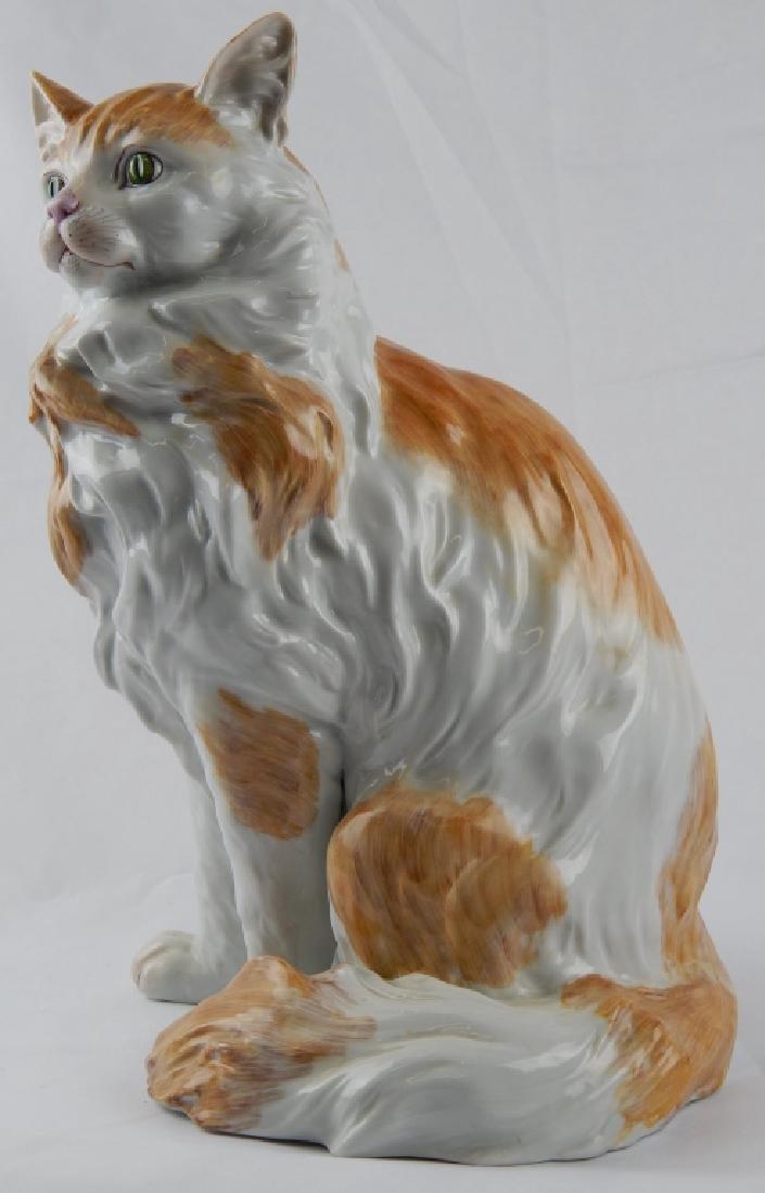 LARGE DRESDEN PORCELAIN SEATED CAT SCULPTURE