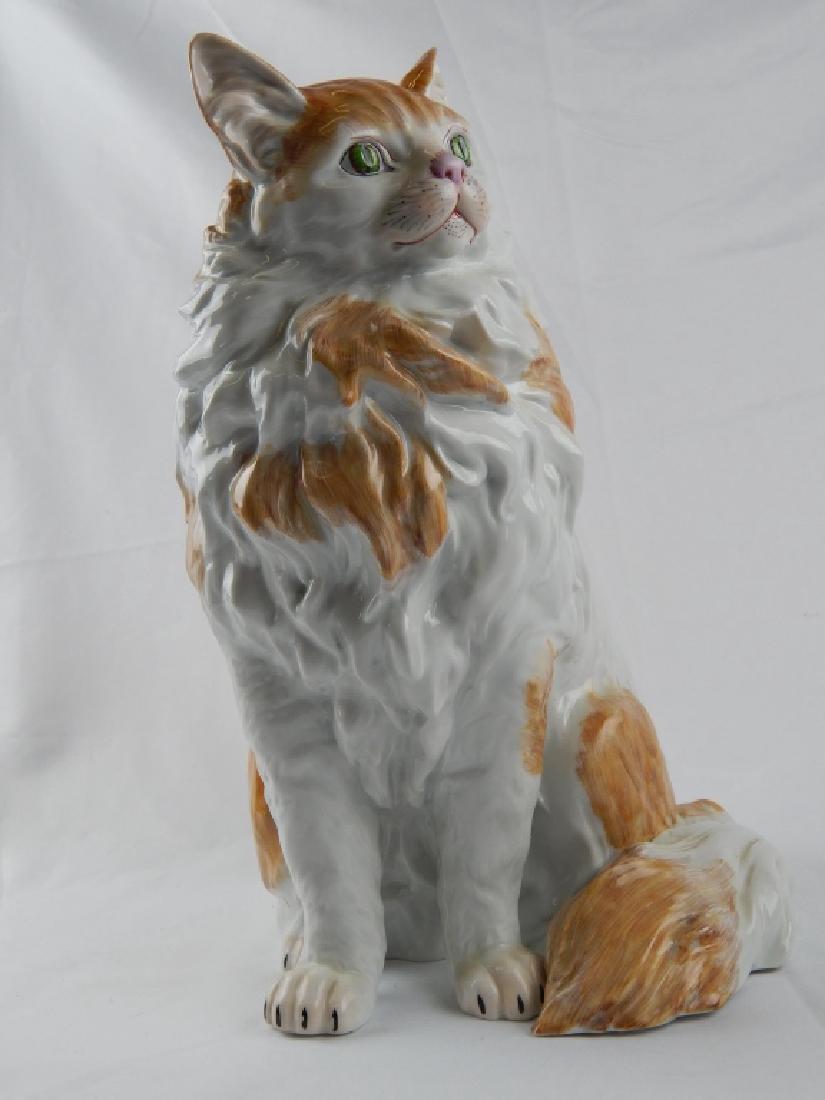 LARGE DRESDEN PORCELAIN SEATED CAT SCULPTURE - 2