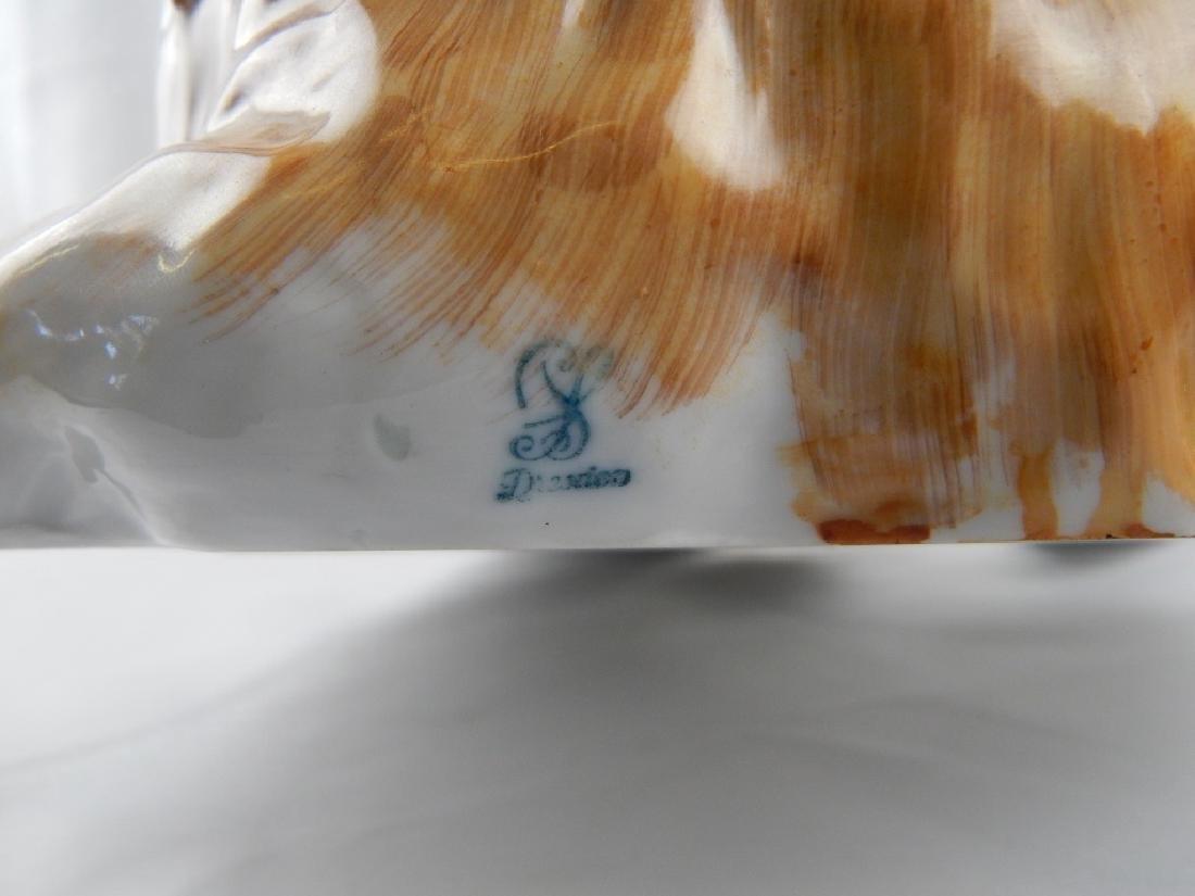 LARGE DRESDEN PORCELAIN SEATED CAT SCULPTURE - 5
