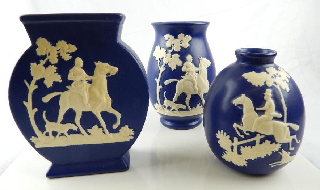3 WELLER POTTERY CHASE FOX HUNG BLUE VASES