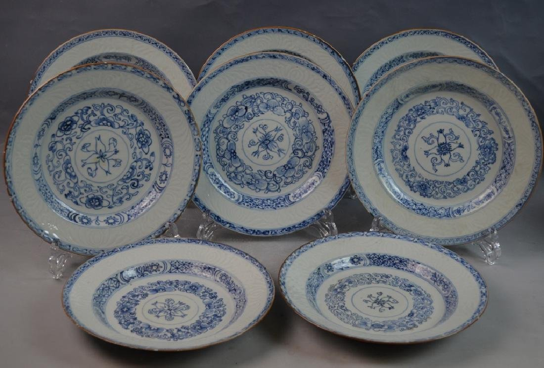 (8) CHINESE ANTIQUE BLUE & WHITE PORCELAIN PLATES
