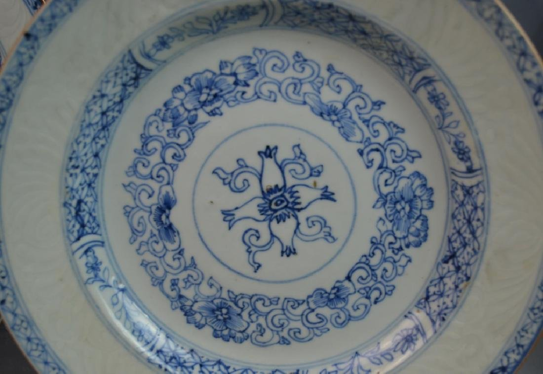 (8) CHINESE ANTIQUE BLUE & WHITE PORCELAIN PLATES - 2