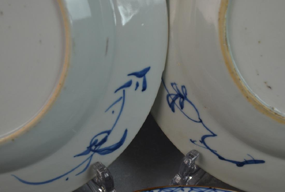 (8) CHINESE ANTIQUE BLUE & WHITE PORCELAIN PLATES - 5