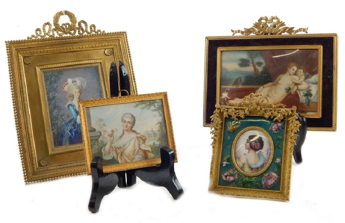 4 HAND PAINTED PORTRAITS ON IVORINE FRAMED
