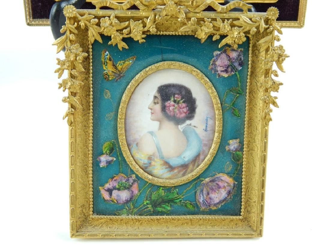 4 HAND PAINTED PORTRAITS ON IVORINE FRAMED - 3