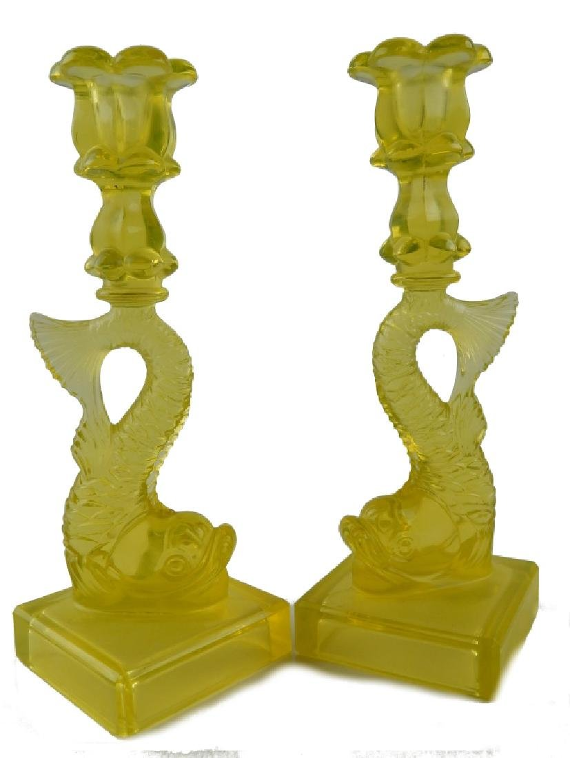 Pr VASELINE GLASS MYTHOLOGICAL FISH CANDLESTICKS