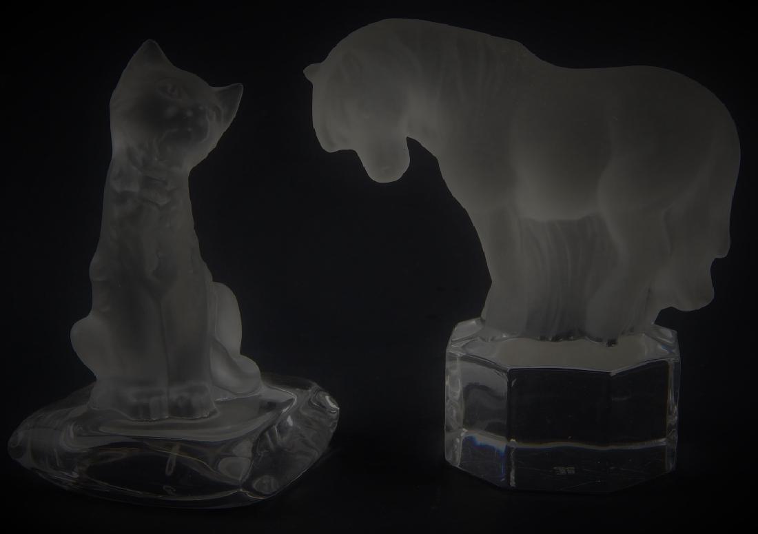 2 GOEBEL CRYSTAL ANIMAL FIGURES HORSE CAT
