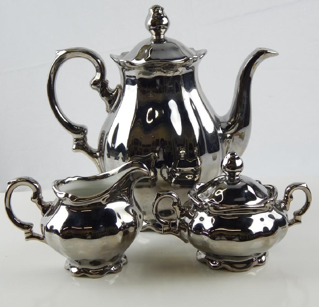 3pc KRONESTER GERMAN SILVERED PORCELAIN TEA COFFEE