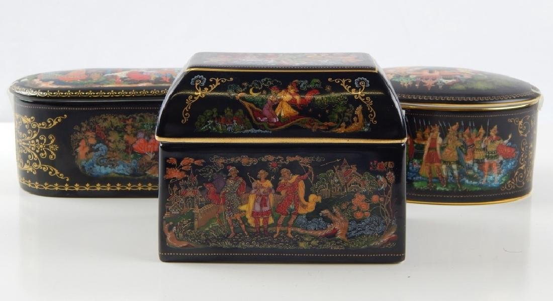 3 RUSSIAN PORCELAIN FAIRY TALE COVERED TRINKET BOX
