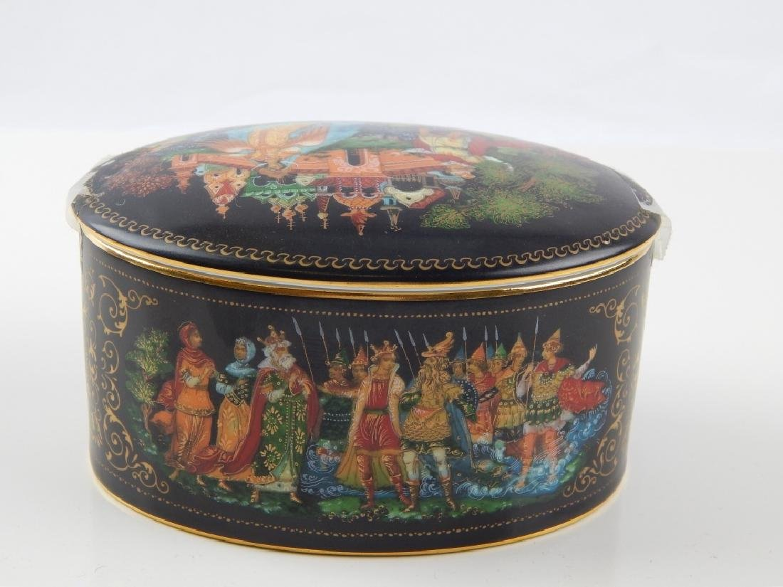 3 RUSSIAN PORCELAIN FAIRY TALE COVERED TRINKET BOX - 3