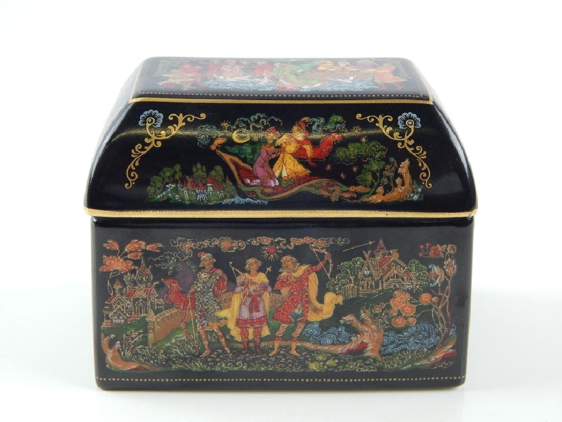 3 RUSSIAN PORCELAIN FAIRY TALE COVERED TRINKET BOX - 4