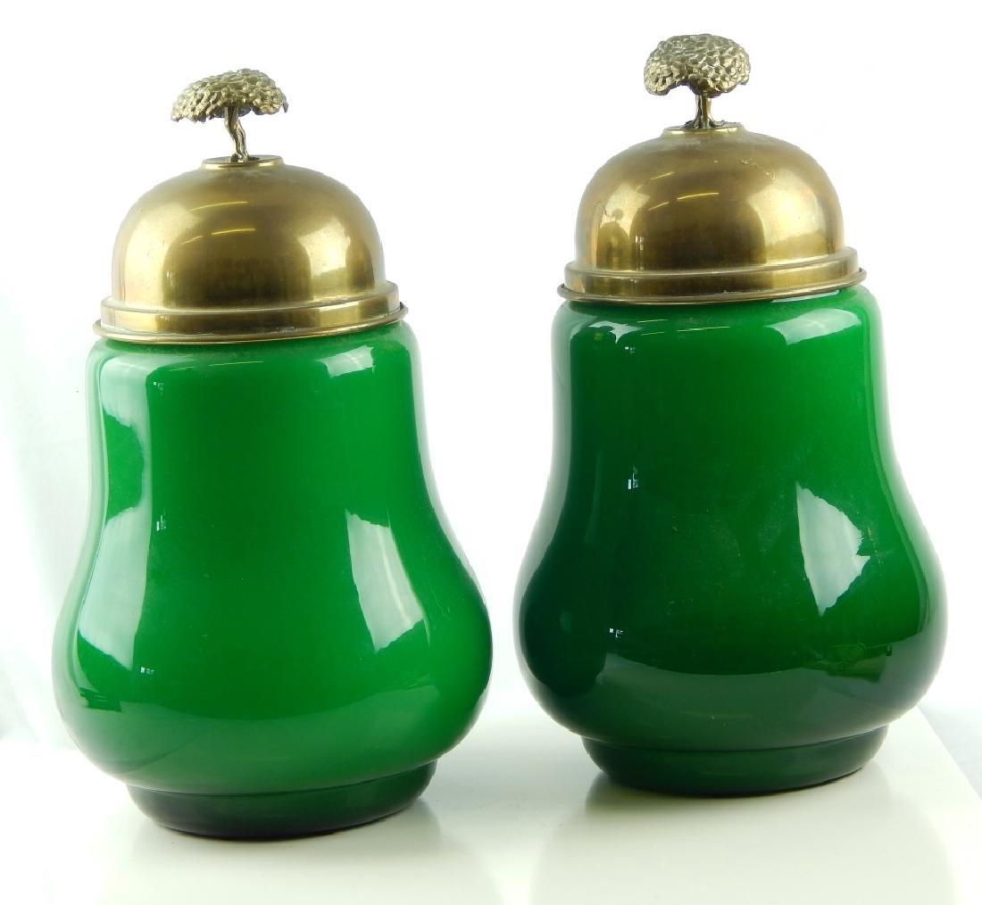 Pr SARREID SPAIN BRASS COVER ITALIAN EMERALD GLASS