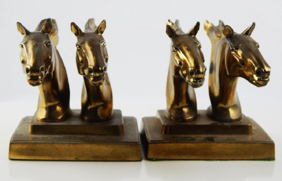 FRANKART GOLD TONE METAL DOUBLE HORSE HEAD BOOKEND