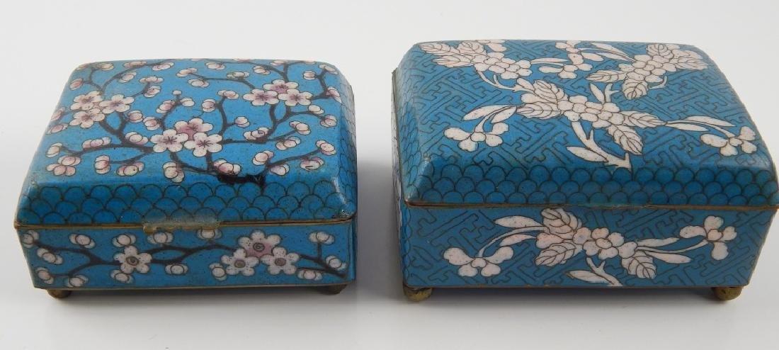 2 VINTAGE CHINESE CLOISONNE ENAMEL FLORAL BOXES